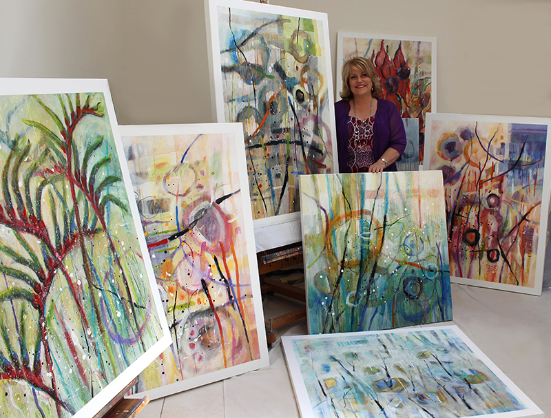 Tracey with Mildura paintings for web